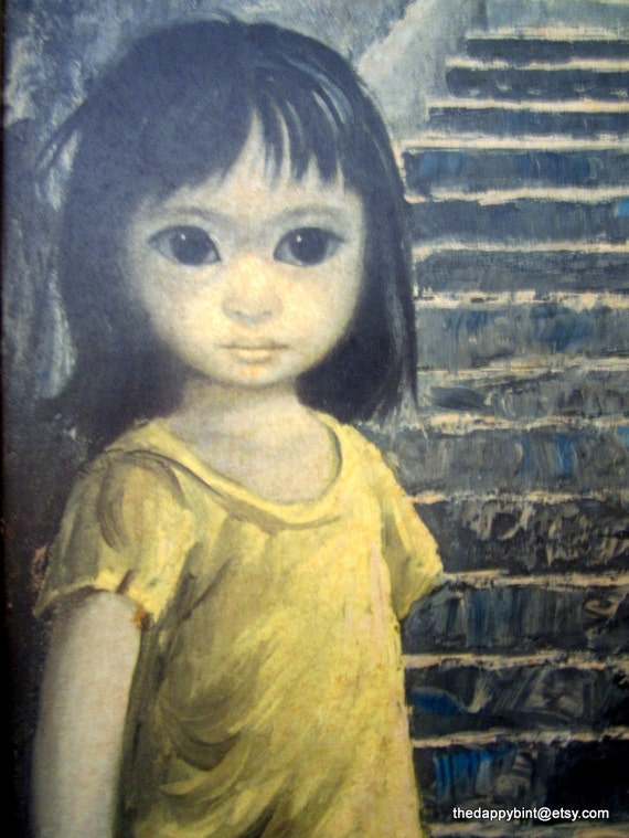 "Girl of China - Very Large, Very Rare Margaret Keane - Framed Litho - Mislabeled Walter - 33"" x 17"""