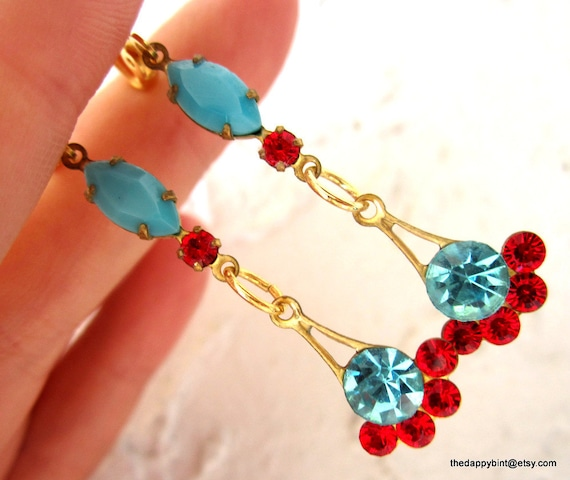 Turquoise and Ruby Vintage Leverback Drops - Swingy and Light - Sealed -