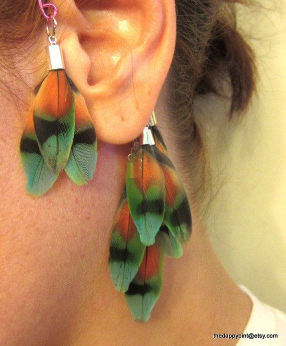 Tri Color Natural Cruelty Free Massive Feather Ear Cuff - Cartilage Wrap - Pink, Navy and Teal OOAK - ON HOLD
