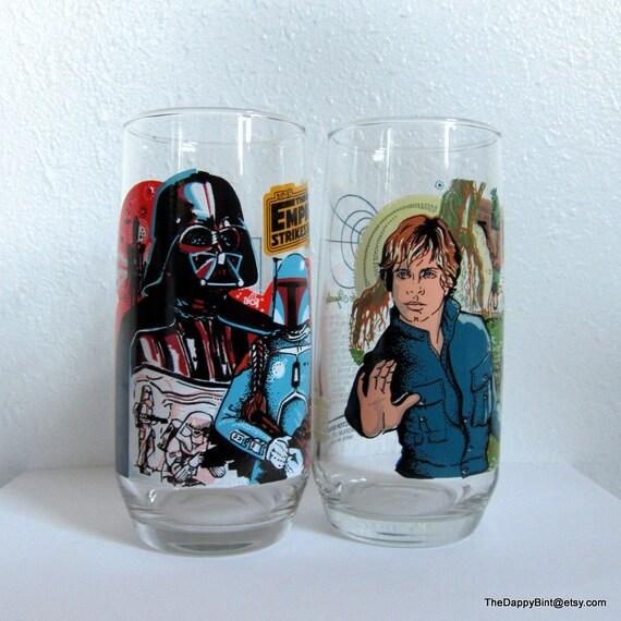 Star Wars Collector Glasses - 1980 - Empire Strikes Back - Luke and Darth Vader - Plus Boba, Yoda etc - Killer Shape