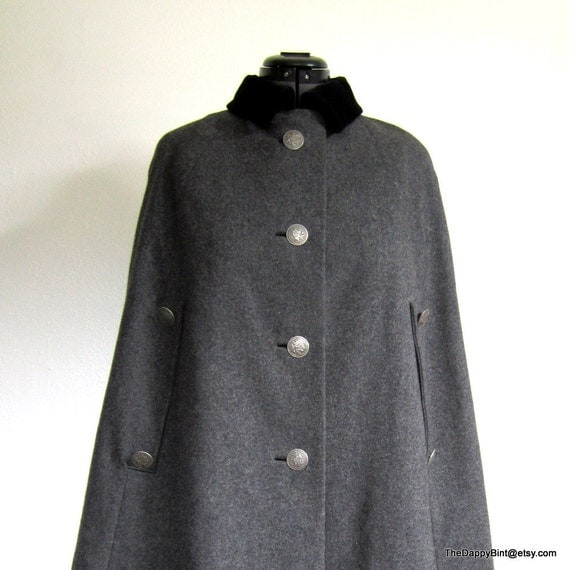 Charcoal Grey English Cape - Black Velvet Collar - Fully Lined - St. George and Dragon Buttons - Stunning - Offers Considered