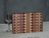 Cutting Board  with Walnut, Maple, Cherry and Oak - Cheese Board - Gift Idea