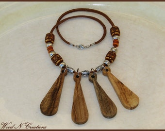 Exotic Style Necklace with Bat Pendants of Wood - Statement Piece - One of a Kind