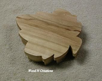 Grape Leaf Shape Jewelry or Trinket Box - Tabletop Accessory - Leaf Shaped - Wooden Box