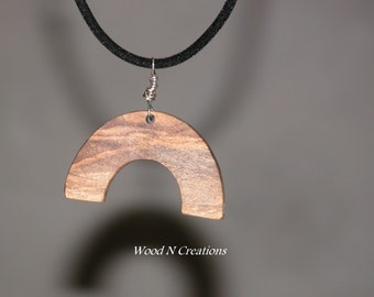 Necklace Pendant - Half Moon Shape Pendant in Grapefruit Wood