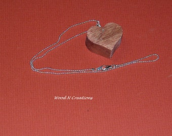 Necklace - Pendant - Heart Shaped from Cherry Wood - Romantic Gift Idea