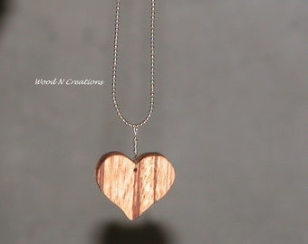 Heart Shaped Pendant Necklace with Striped Zebra Wood - Romantic Gift