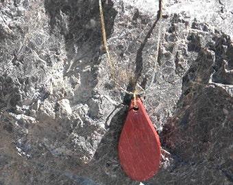 Long Teardrop Shaped Pendant Necklace - Wooden Teardrop Shape Pendant