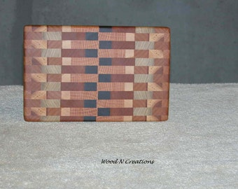Wooden Cutting Board Lighter Shades of Brown Cheese or Sandwich Board Smaller