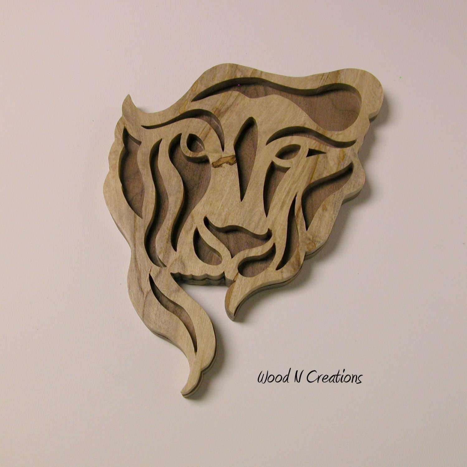 Art Décor: Wooden Lion's Head Wall Art / Home Decor With FREE