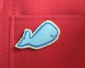 Whale Brooch Felt Pin - Cousteau - Cute Nautical Accessories - Aqua Blue