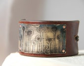 Brass Etched Bracelet With Geometric Garden Patina on Upcycled Leather Made To Order