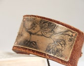 Flowering Garden Bracelet Brass Etched and Oxidized With Handmade Rivets on Upcycled Leather Belt Cuff Made To Order