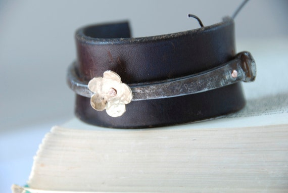 Tough As Nails Antique Iron Nail and Hand Pierced and Textured Brass Forget Me Not Upcycled Leather Cuff/Bracelet