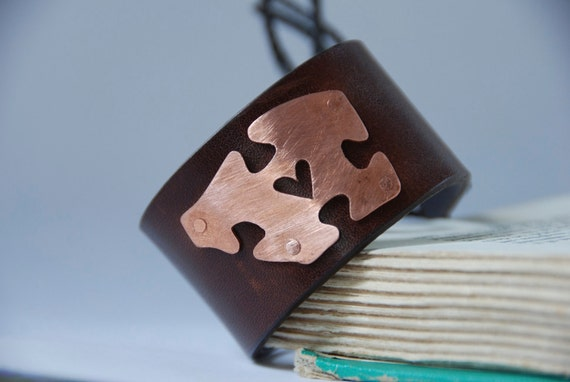 My Better Half Copper Puzzle Piece with Handpierced Heart Upcycled Leather Braclet Made To Order