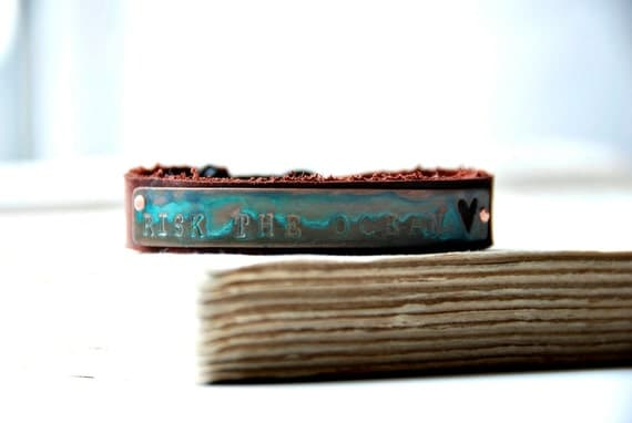 Adventure Bracelet Leather And Copper Risk The Ocean Cuff With Antique Date Nail Made To Order