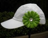 White Toddler Baseball Cap with Green Daisy