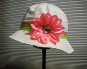 Infant/Toddler White Sun Hat with Striped Hatband and 4 Lily Flowers to match