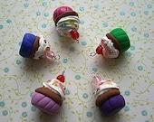 Polymer Clay Cupcake Charm-set of 5-