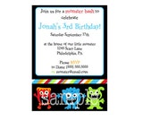 DIY Monster Party Invitation - PDF and jpg files