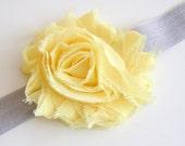 Yellow Shabby Chic Chiffon Flower on a Gray Elastic Headband - newborn through adult - photography prop
