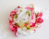 Vintage Shabby Chic Chiffon Flower on a White Lace Elastic Headband - newborn through adult - photography prop