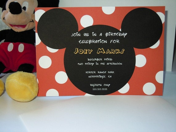 Mickey and Minnie Mouse Birthday Invites - Set of 20 - envelopes included