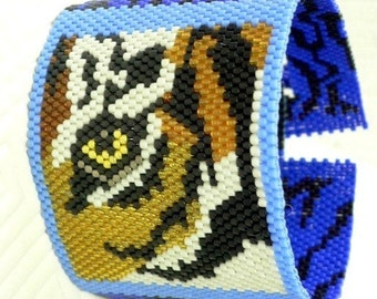 Eye of the Tiger PDF beaded Peyote cuff bracelet instructions: Instant Downloadable Pattern PDF File