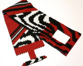 Zebra safari peyote beadweaving cuff bracelet: Instant Downloadable Pattern PDF File