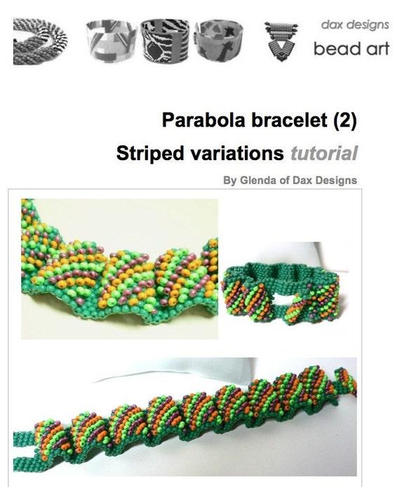 Parabola Waves beaded cuff bracelet: Striped variation - Instant Downloadable Pattern PDF File