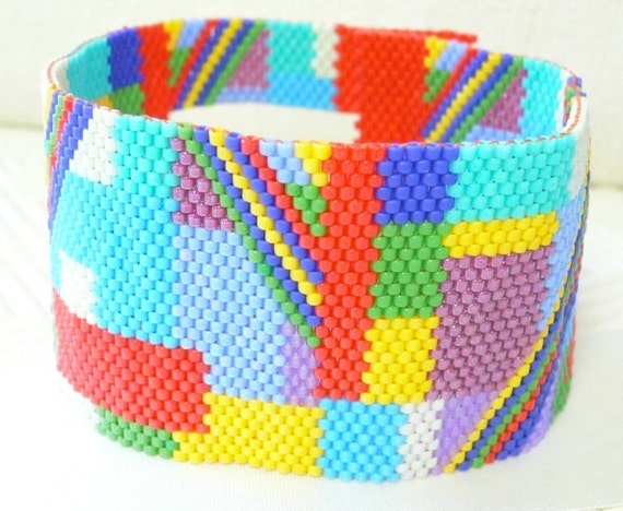 Abstract Rhythms beaded cuff bracelet peyote stitch: Instant Downloadable Pattern PDF File