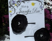 BLACK SATIN Fabric Flower HAIR PINS set of 2