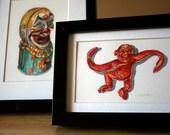 Red Monkey - Barrel of Monkeys - Original Watercolor - Nightly Study