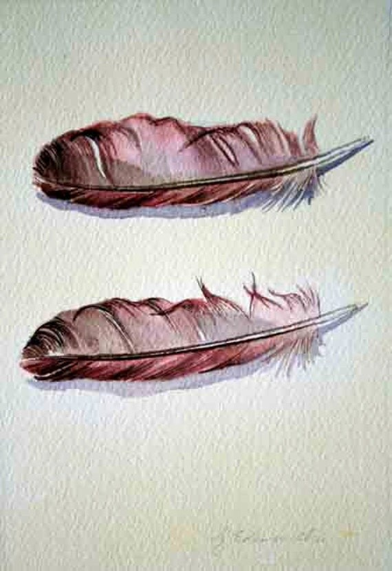 Feather Watercolor Twins 2 - Original Watercolour Painting - Nightly Study Dec 6th