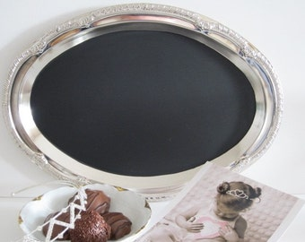 Tres Chic Oval Magnetic Chalkboard Valentines Day Decor Valentines Day Gift Blackboard Message Hostess Present Announcements  Shabby Chic