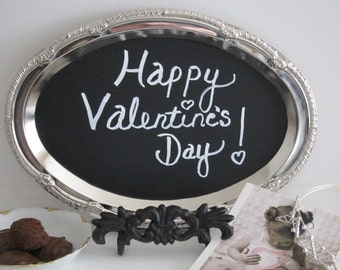 Happy Valentine's Chalkboard WITH EASEL Silver  Chalkboard  Memo  Message Chalk Board  Birthday Hostess Gift sign                          I
