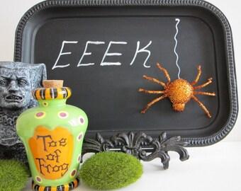 Halloween  Chalkboard W/ Easel  Blackboard Spooky Chic Repurposed Haunted House Decor Menu Board Party Favor Hostess Gift