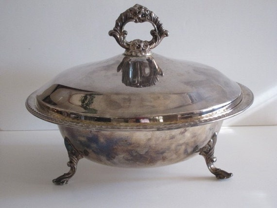 Vintage F.B. Rogers Silver Plated  Casserole Dish with Ornate Lid Holiday Table Romantic Dinner Buffet
