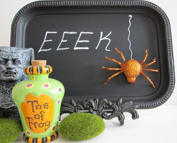 Halloween Blackboard W/ EASEL Chalkboard Haunted House Decor Message Board EEEK Chic Spooky Buffet Menu Costume Party Favors