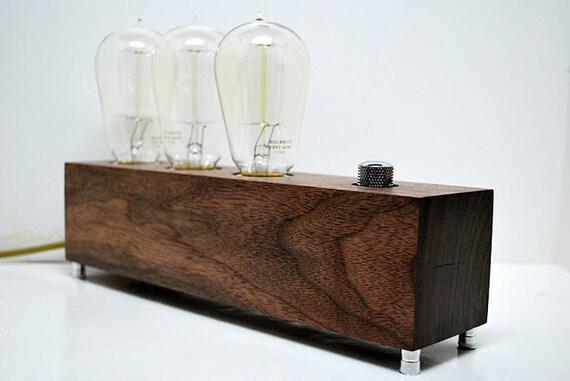The Menlo Park Lamp- Triple Edison's in Walnut w/ Full Range Dimmer