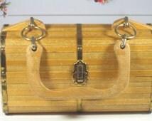 Wood Hand bag 70s/ Wood bag Handmade1970s / Hand bag 1970s / Shipping! All countries