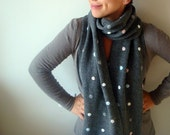 Gray Wool Scarf with Polka Dots 25 x 150cm