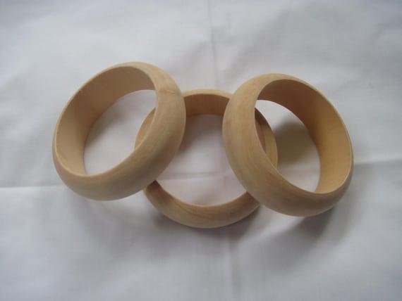 3 Small Slender Unfinished Wood Bangles