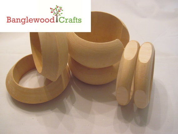 Unfinished Wood Bangle Set of 6: 2 Cuffs, 2 Quadrilateral (4-sided) bangles, 2 Flying Saucers