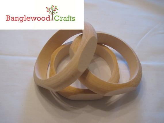 3 Medium Size Unfinished Wood Quadrilateral (4-sided) Bangle Bracelets