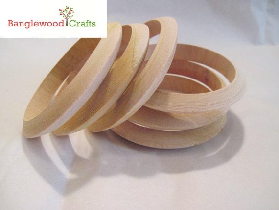 6 Large Size Unfinished Wood Slender Flying Saucer Bangle Bracelet