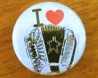 I Heart Accordions: 1 inch Pinback Button