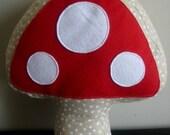 mushroom, throw pillow, bedroom decoration, modern, red, white, polka dot