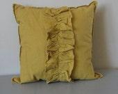 yellow throw  pillow modern shabby ruffle linen cushion