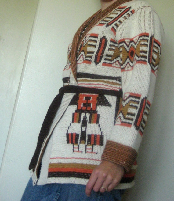 vintage cardigan sweater large womens orange brown and cream lane Bryant